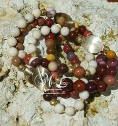 Fall Colored Long Gemstone and Gold Necklace by MissLexJewelry