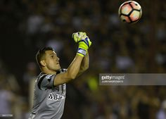 Brazil's Gremio goalkeeper Marcelo Grohe hits the ball during the Copa Libertadores 2017 final football match against Argentina's Lanus at Lanus stadium in Lanus, Buenos Aires, Argentina, on November 29, 2017. /