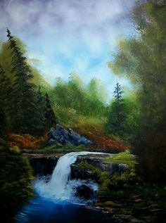 Serene Waterfall. Oil Painting by Mickie Ames