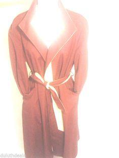 Vintage Etienne Aigner Reversible Trench Coat Burgundy & Beige, Size 14 regular #EtienneAigner #BasicCoat