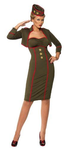 1940s Sexiest Pin Up Girl Costumes - The army dress, bolero and hat