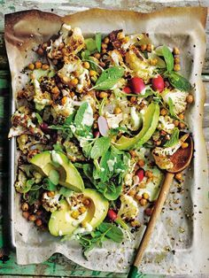 Dukkah Roasted Cauliflower Salad With Creamy Avocado Dressing #salad #realfood