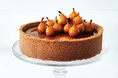 Poached pear and cinnamon cheesecake