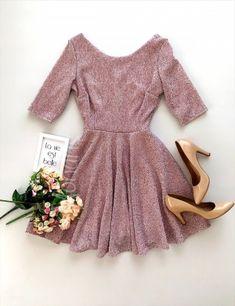 Rochie eleganta cloche roz stralucitoare scurta cu maneci trei sferturi - Rochii - Rochii banchet Peplum, Corset, Floral, Dresses, Women, Fashion, Vestidos, Moda, Bustiers