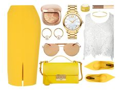 """""""Lemonade"""" by monmondefou ❤ liked on Polyvore featuring Salvatore Ferragamo, Movado, L.K.Bennett, Dolce&Gabbana, Sans Souci, Lana, Rodial and yellow"""