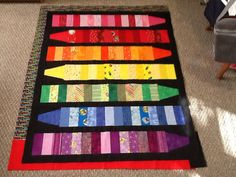 jpg image from Quilting Board: crayon strips cut X crayon end cut inch square with side pieces sewn on. cut 2 inch sashing to go between crayons Wool Quilts, Lap Quilts, Scrappy Quilts, Quilt Blocks, Quilting Projects, Quilting Designs, Sewing Projects, Quilt Baby, Rainbow Quilt
