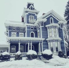 Blue Victorian house with white trim. - Dress models - , Architecture Best Picture For classic home decor Best Picture For Cultural Architecture photography For Your TasteYou are looking for something Victorian Architecture, House Architecture, Residential Architecture, Cultural Architecture, Victorian Style Homes, Victorian Gothic, Victorian Homes Exterior, Old Victorian Houses, Classic Home Decor