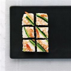 Prawn and cucumber squares (oshi sushi) recipe. Make oshi sushi, a lovely prawn and cucumber dish. It's perfect for a party. Sushi Dishes, Salmon Dishes, Oshi Sushi, Sushi Co, Sushi Party, Sushi Recipes, Seafood Recipes, Dinner Party Menu, Delicious Magazine