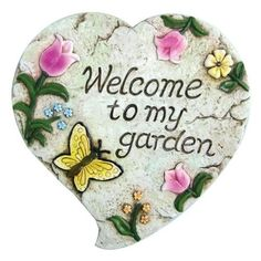 Garden Odyssey POYYH477B Welcome To My Garden Decorative Stepping Stone by Garden Odyssey. $13.08. Welcome to our garden decorative stepping stone. Poly resin with a beautiful, hand painted finish. Measures 10-inch diameter. Includes hanging feature for wall display, weather resistant. Ideal for display in borders, flowerbeds and rockeries. This welcome to our garden decorative stepping stone is ideal for display in borders, flowerbeds and rockeries. Includes hanging feature f...