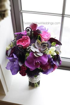 Purples Pinks And Green Bouquet Succulents Orchids Purple Flower
