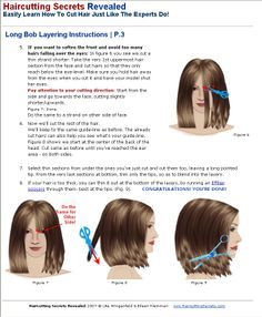 long bob layering instructions - sample from haircutting ebook Short Layered Haircuts, Long Bob Haircuts, Long Bob Hairstyles, Diy Hairstyles, Layered Bobs, Layered Hairstyles, Cut Hair At Home, Hair Cutting Techniques, Hair Hacks
