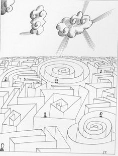 Saul Steinberg illustration for book by Paul Tillich.