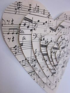 No tutorial, she just used sheet music and thick double sided mounting tape. A v… No tutorial, she just used sheet music and thick double sided mounting tape. A version of this could be an excellent modge podge project…. Sheet Music Crafts, Sheet Music Art, Music Paper, Paper Art, Music Sheets, Vintage Sheet Music, Book Crafts, Diy And Crafts, Arts And Crafts
