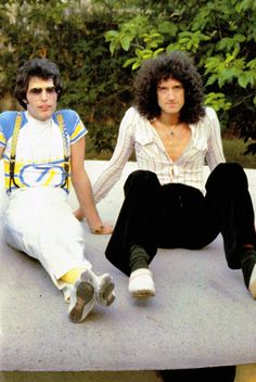 Freddie Mercury and Brian May of Queen.