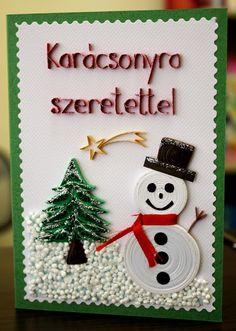 Papírvilág: karácsonyi üdvözlet Christmas Cards, Christmas Ornaments, Hot Air Balloon, Quilling, Pixie, Balloons, Holiday Decor, Home Decor, Christmas E Cards