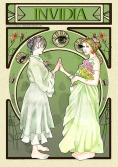 Commissions open : [link] Envy (Latin Invidia) Part of my Seven nouveau Sins collection. Here we have the woman in her old age looking at her younger se. Seven Deadly Sins, Art Nouveau, Deviantart, Illustration, Fictional Characters, Fan, Artists, Life, Fashion