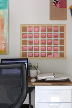 cork board/post-it planning calendar