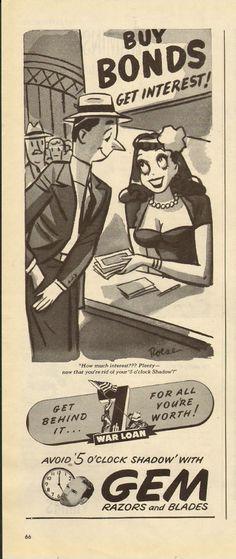 1940's Vintage Ad for Gem Razors and Blades WWII Era Buy War Bonds 052113 | eBay