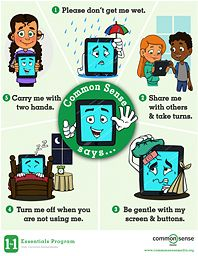 Help younger kids care for their tablets responsibly with these basic rules. Build early literacy by reading each rule and acting out the accompanying illustration.