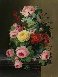 Severin Roesen. Still Life of Flowers.19th century