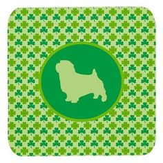 Set of 4 Norfolk Terrier Lucky Shamrock Foam Coasters, Multi
