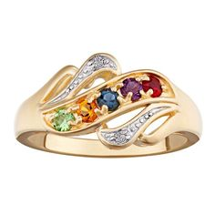 Mother's Simulated Birthstone and Diamond Accent Swirl Ring in Sterling Silver with 18K Gold Plate (2-5 Stones)
