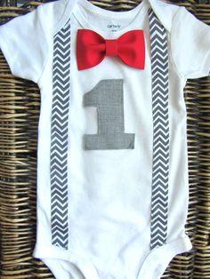 Boys First Birthday Outfit - Baby Boy Clothes - Grey Chevron  Birthday Number - Red 1st Birthday -Red  Birthday Bow Tie - Carnival Birthday