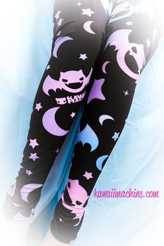 Graveyard Shift Printed Leggings (Bats, Moons, Stars)  Fairy Kei Pastel Goth Kawaii