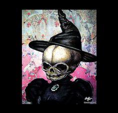 Print 8x10  Witch  Dark Art Skull Skeleton Fetal by chuckhodi, $10.00