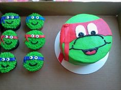 Teenage mutant ninja turtle cake and cupcakes