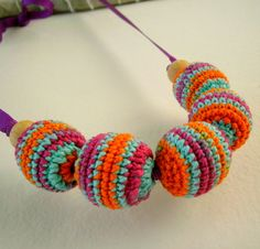 Colorful crochet beads necklace