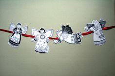 *Engel Girlande Bastelset DIN A5*    Für Groß und Klein    +Ausschneiden - Verzieren - Aufhängen+    Die vier süßen Engel, hübsch verpackt in einem go