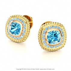 SWEET MEMORIES | Romantic Stud Earrings with Sky Blue Topaz and Aquamarine in 18k Yellow Gold and 18k Rose Gold