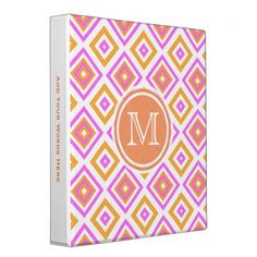 #Monogram: #Pink And #Orange #Diamond Print  #Binder for #Home #School or #Office #BackToSchool By #KCavender