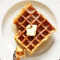 """Waffles ... Really Good Waffles - ALTON BROWN — Few """"griddle breads"""" deliver the goods the way waffles can. And waffles go beyond breakfast"""