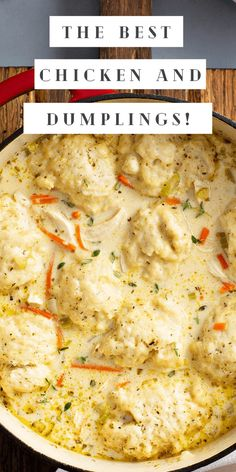 This homemade Chicken and Dumplings recipe makes creamy soup loaded with big fluffy dumplings made from scratch. An easy and cozy recipe! #dumplings #soup #chickensoup