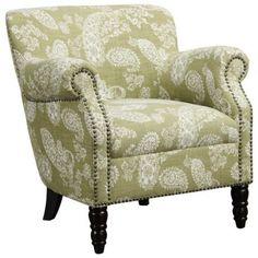 angelo:HOME Carissa Vintage Green Paisley Armchair. - #2V352 | LampsPlus.com
