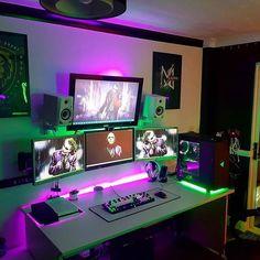 Reposting El guasón por vía ➖➖➖➖ Síguenos Envía tu setup por email o con . Setup Desk, Home Office Setup, Pc Setup, Home Office Design, Office Ideas, Gamer Setup, Gaming Room Setup, Gaming Desk, Gaming Rooms