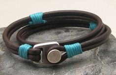 FREE SHIPPING Men's leather bracelets. Brown leather wrap men's leather bracelets with silver plated button clasp