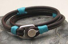 Men's leather bracelet Brown leather by eliziatelye, $28.00
