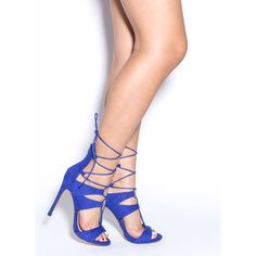 All The Cage Faux Suede Heels BLUE featuring polyvore, women's fashion, shoes, pumps, blue, lace up stilettos, open toe shoes, blue stilettos, lace up pumps and lace up shoes