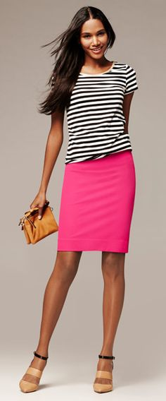 Going to try this combo this spring. My black and white striped top and pink skirt.