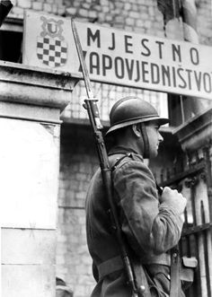 Croatian Ustaše guard of the Ustaše's Army of the Independent State of Croatia (Croatian Home Guard) in front of the Ustaše headquarters in Dubrovnik. The Ustaše was a Croatian fascist, ultranationalist organization led by Ante Pavelić Military Photos, Military History, Soldier Tattoo, Marine Tattoo, The Better Angels, Tattoo Background, Home Guard, Story Of The World, Country Boys
