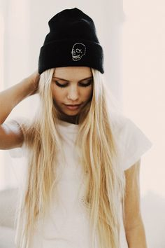 Brandy ♥ Melville | Skull Embroidery Beanie - Accessories