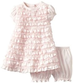 Simply adorable. Soft colors and sweet ruffles perfect for a little girl, 6 month- toddler. Photography clothing idea