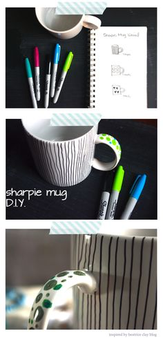 sharpie mug D. Diy Projects To Try, Crafts To Do, Craft Projects, Arts And Crafts, Craft Ideas, Sharpie Crafts, Sharpie Markers, Sharpie Mugs, Personalized Mugs