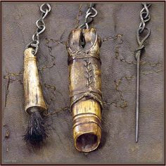 Late 1700's – early 1800's Shot Pouch with horn & accoutrements..