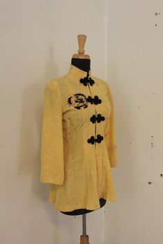Sarah - Gorgeous vintage 1950's embroidered yellow silk Mandarin pajama jacket/blouse with name embroidery. Size US 4 / UK 10 by FeralVintage on Etsy