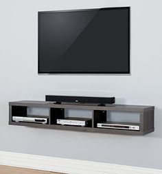 "Amazon.com: Skyline 60"" Wall Mount TV Console, Washed Light Walnut Finish: Home & Kitchen"