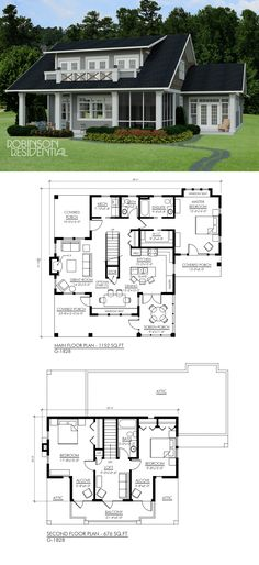 Ideas house lake architecture floor plans for 2019 Cottage Floor Plans, Lake House Plans, Bedroom House Plans, Dream House Plans, Small House Plans, House Floor Plans, Craftsman Porch, Craftsman House Plans, Craftsman Style